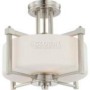 "Nuvo 60/4713 Wright-2 Light Semi Flush Fixt., Satin White, Brushed Nickel, 15.375""W X 13.25""H"