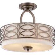 "Nuvo 60/4729 Harlow-3 Light Ceiling-Semi Flush Fixt., Khaki Fabric Shade, Hazel Bronze, 15""WX 12""H"