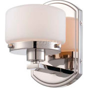 """Nuvo 60/5021 Austin-1 Light Vanity & Wall, Etched Opal, Polished Nickel, 5""""W X 7.625""""H"""