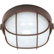 "Nuvo 60/563, 1 Light-Round Cage Bulk Head, Frosted Diffuser, Architectural Bronze, 10""W"