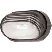 "Nuvo 60/567, 1 Light-Oval Hood Bulk Head, Frosted Diffuser, Architectural Bronze, 6.125""W X 10""H"