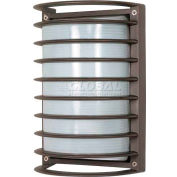 """Nuvo 60/577, 1 Light-Rectangle Cage Bulk Head, Frosted Diffuser, Bronze, 6.5""""W X 10""""H"""