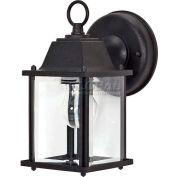 "Nuvo 60/638, 1 Light-Cube Lantern, Clear Beveled Glass, Textured Black, 4.375""W X 8.625""H"