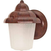 "Nuvo 60/640, 1 Light-Hood Lantern W/Satin Frosted Glass, Satin Frosted, Old Bronze, 6""W X 8.875""H"