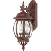 "Nuvo 60/892 Central Park-3 Light Wall Lantern W/Clear Beveled Glass, Old Bronze, 7.375""W X 22.75""H"