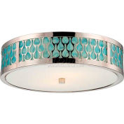 "Nuvo 62/142 Raindrop-2 Module Ceiling-Flush Dome, White Glass, Polished Nickel, 15""W X 4.375""H"