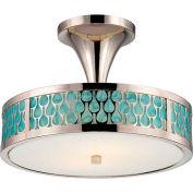 "Nuvo 62/145 Raindrop-2 Module Ceiling-Semi Flush, White Glass, Polished Nickel, 15""W X 10.875""H"