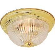 "Satco 76-092 2 Light - 13"" - Flush Mount - Clear Ribbed Glass  Polished Brass"
