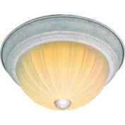 "Satco 76-127 2 Light - 13"" - Flush Mount - Frosted Melon Glass  Textured White"