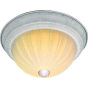 """Satco 76-129 3 Light - 15"""" - Flush Mount - Frosted Melon Glass  Textured White"""