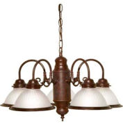 """Satco 76-694 5 Light - 22"""" - Chandelier - With Frosted Ribbed Shades  Old Bronze"""