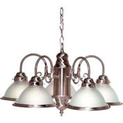 """Satco 76-695 5 Light - 22"""" - Chandelier - With Frosted Ribbed Shades  Brushed Nickel"""