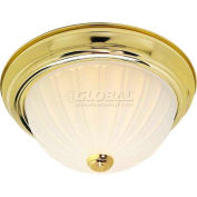 "Nuvo 76/128, 3 Light-Ceiling-Flush Mount, Frosted Melon, Polished Brass, 15.25""W X 6""H"
