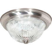 "Nuvo 76/609, 2 Light-Ceiling-Flush Mount, Clear Ribbed, Brushed Nickel, 11.375""W X 4.875""H"