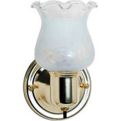 "Satco 77-120B 1 Light - 5"" - Vanity - w/Frosted Grape Shade & On/Off Switch  Polished Brass"