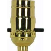 Satco 80-1022 On-Off Push Thru Socket Less Set Screw - Polished Brass