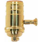 Satco 80-1064 150W Full Range Turn Knob 4pc. Dimmer Socket - Polished Brass