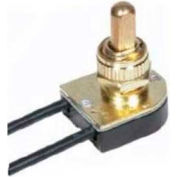 Satco 80-1124 On-Off Metal Push Switch  3/8-in. Bushing  Brass Finish
