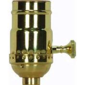 Satco 80-1737 3 Way (2 Circuit) 3pc. Turn Knob Socket w/Removable Knob - Satin Brass