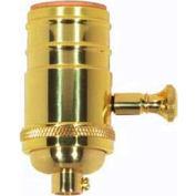 Satco 80-1795 150W Full Range Turn Knob 4pc. Dimmer Socket - Polished Brass  1/4 IPS