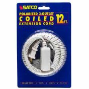 Satco 93-170 12 Ft. Coiled (Extended) Extension Cord, White