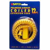 Satco 93-175 12 Ft. Coiled (Extended) Extension Cord, Yellow