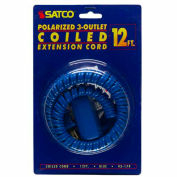Satco 93-179 12 Ft. Coiled (Extended) Extension Cord, Blue