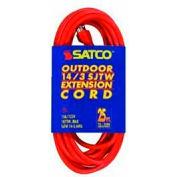 Satco 93-5009 #14/3 Ga. SJTW-3 Orange Outdoor Extension Cord - 50 Ft.