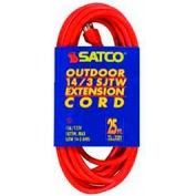 Satco 93-5010 #14/3 Ga. SJTW-3 Orange Outdoor Extension Cord - 100 Ft.