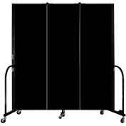 "Screenflex Portable Room Divider, Fire Resistant, 6'H x 5'9""L, Black"