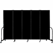 "Screenflex Portable Room Divider, Fire Resistant, 6'H x 9'5""L, Black"