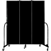 "Screenflex Portable Room Divider, Fire Resistant, 6'8""H x 5'9""L, Black"
