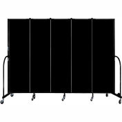 "Screenflex Portable Room Divider, Fire Resistant, 6'8""H x 9'5""L, Black"
