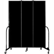 "Screenflex Portable Room Divider, Fire Resistant, 7'4""H x 5'9""L, Black"