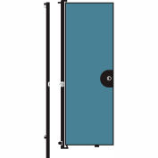 Screenflex 8'H Door - Mounted to End of Room Divider - Vinyl-Blue Tide