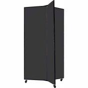 "3 Panel Display Tower, 5'9""H, Fabric - Black"