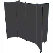 "6 Panel Display Tower, 6'5""H, Fabric - Black"