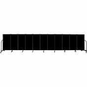 "Screenflex 11 Panel Portable Room Divider, 4'H x 20'5""L, Fabric Color: Charcoal Black"