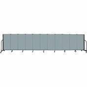 "Screenflex 11 Panel Portable Room Divider, 4'H x 20'5""L, Fabric Color: Grey Stone"