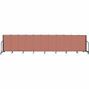 "Screenflex 11 Panel Portable Room Divider, 4'H x 20'5""L, Fabric Color: Cranberry"