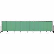"Screenflex 11 Panel Portable Room Divider, 4'H x 20'5""L, Fabric Color: Sea Green"