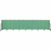 "Screenflex 11 Panel Portable Room Divider, 4'H x 20'5""L, Fabric Color: Sea Green"