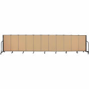 "Screenflex 11 Panel Portable Room Divider, 4'H x 20'5""L, Fabric Color: Sand"