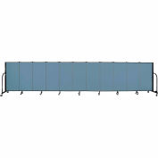 "Screenflex 11 Panel Portable Room Divider, 4'H x 20'5""L, Fabric Color: Blue"