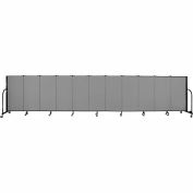 "Screenflex 11 Panel Portable Room Divider, 4'H x 20'5""L, Fabric Color: Grey"