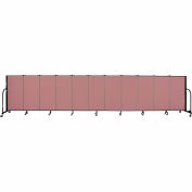 "Screenflex 11 Panel Portable Room Divider, 4'H x 20'5""L, Fabric Color: Mauve"