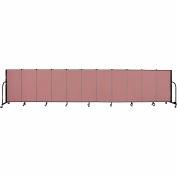"""Screenflex 11 Panel Portable Room Divider, 4'H x 20'5""""L, Fabric Color: Mauve"""