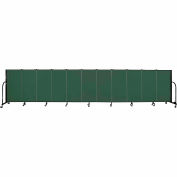 "Screenflex 11 Panel Portable Room Divider, 4'H x 20'5""L, Fabric Color: Green"