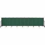 "Screenflex 11 Panel Portable Room Divider, 4'H x 20'5""L, Fabric Color: Green"