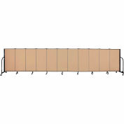 "Screenflex 11 Panel Portable Room Divider, 4'H x 20'5""L, Fabric Color: Wheat"
